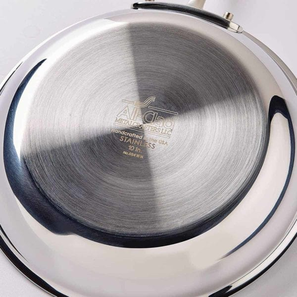 All-Clad D3 Stainless Cookware Set underside of a pan
