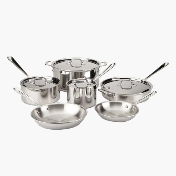 All-Clad D3 Stainless Cookware Set on a white background