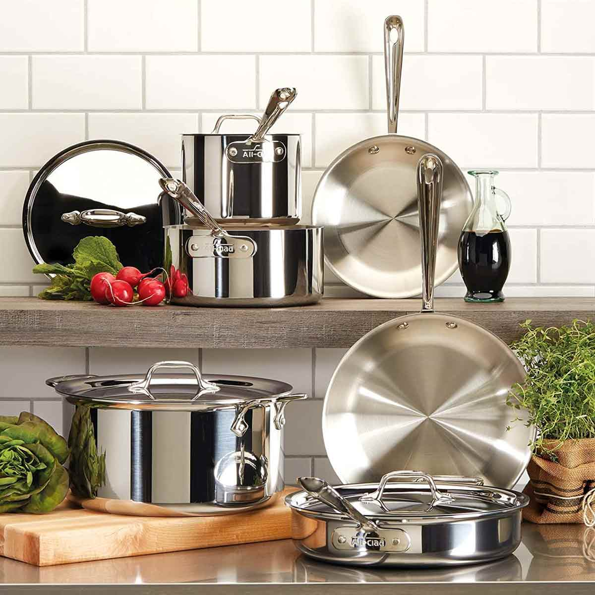 All-Clad D3 Stainless Cookware Set on a counter