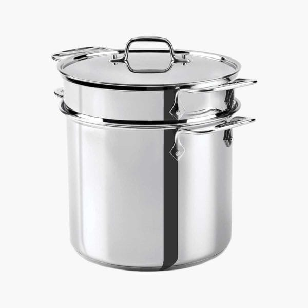 All-Clad Stainless Steel Multicooker shown with steamer insert.