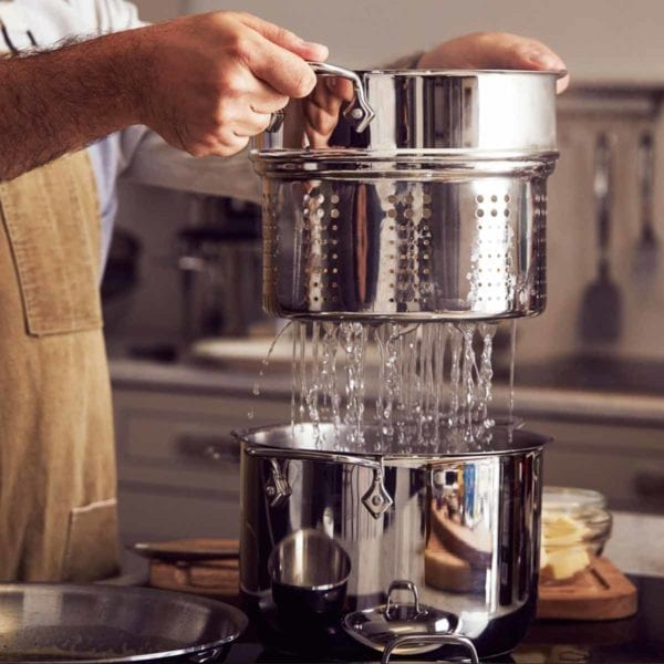 All-Clad Stainless Steel Multicooker with Inserts Draining