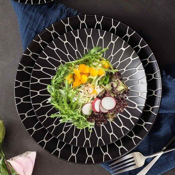 Black and White Ceramic Dessert Plates with Salad