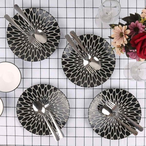 Black and White Ceramic Dessert Plates on Grid