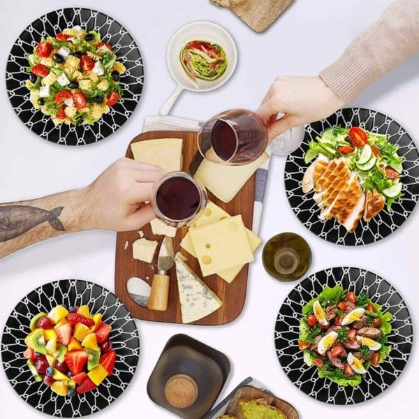 Black and White Ceramic Dessert Plates Wine and Cheese Party