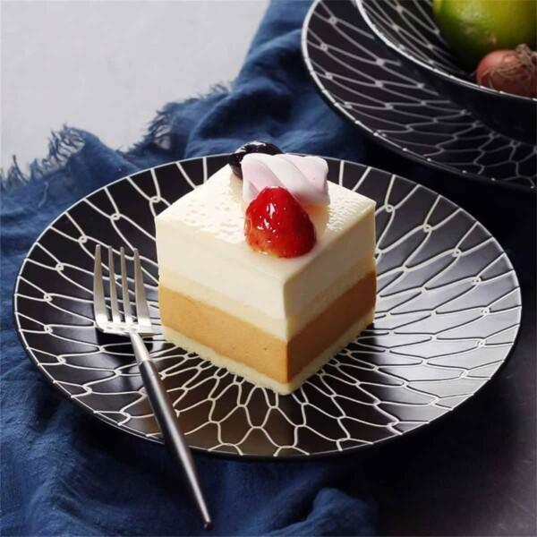 Black and White Ceramic Dessert Plates with Layered Dessert
