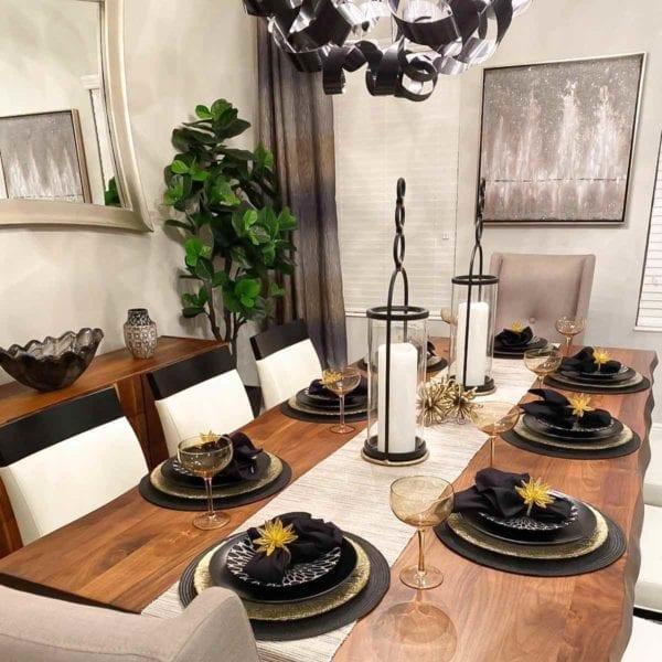 Black and White Ceramic Dessert Plates Table Setting
