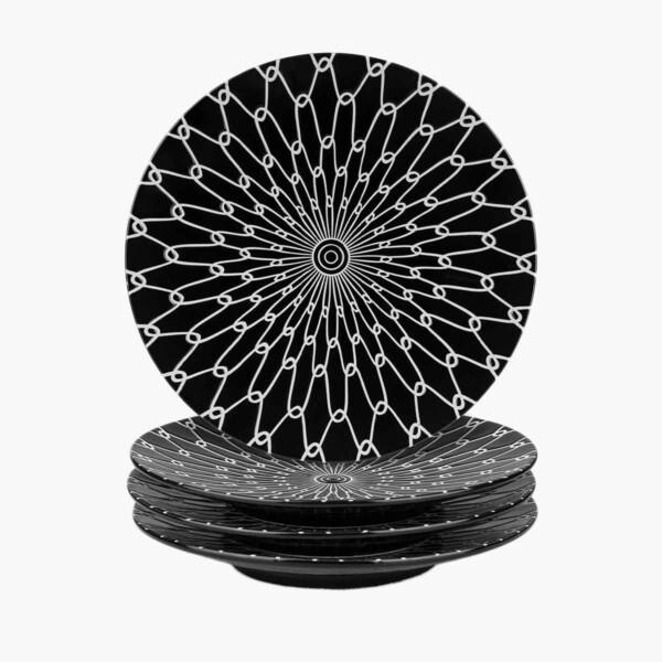 Black and White Ceramic Dessert Plates Stacked