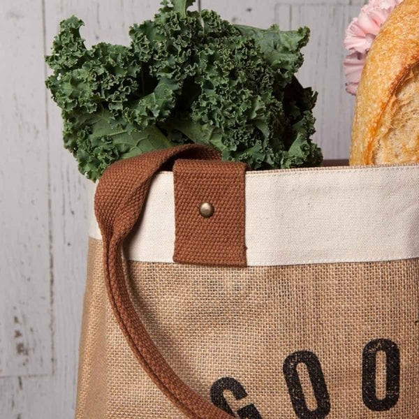 Burlap Market Tote with kale and baguette.