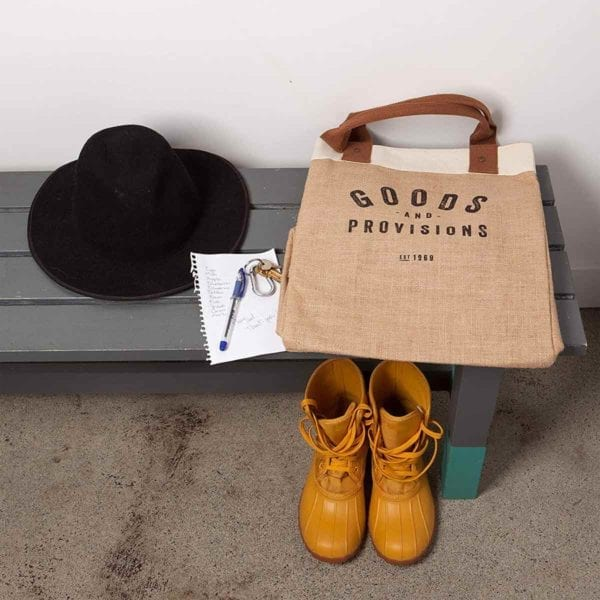 Burlap Market Tote on bench with yellow boots.