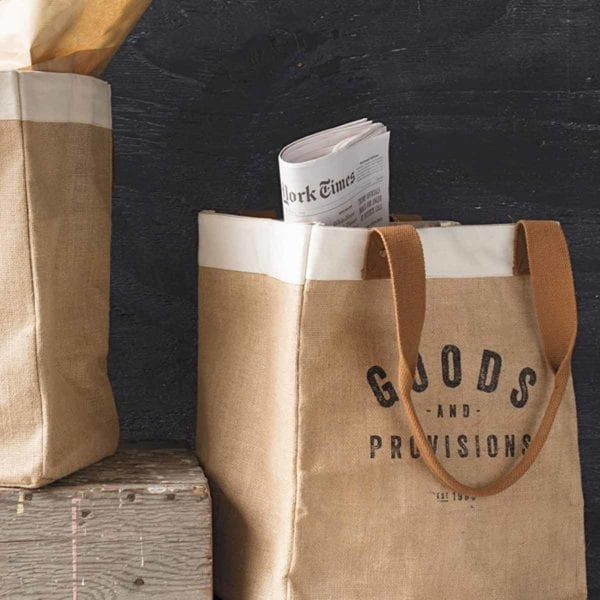 Burlap Market Tote with newspaper.