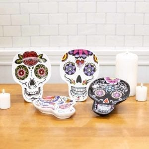 Calavera Ceramic Day Of The Dead Plates on Counter
