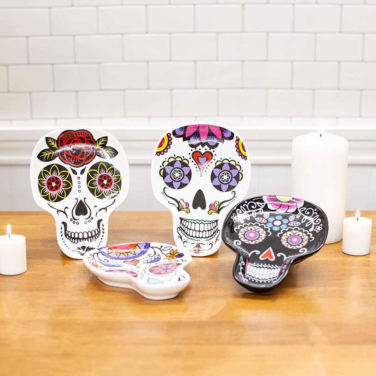 Calavera Ceramic Day Of The Dead Plates on Counter