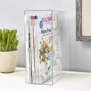 Clear Plastic Magazine Holder holding Real Simple.