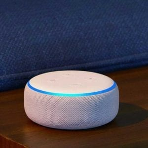 White and blue Echo Dot.