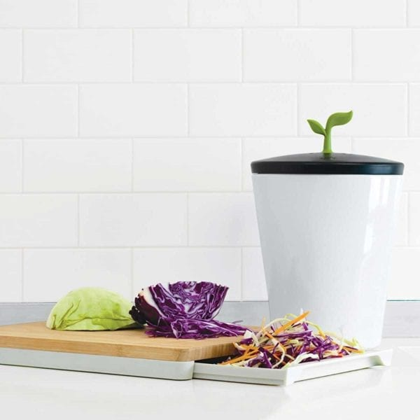 EcoCrock Counter Compost Bin on counter with cabbage.