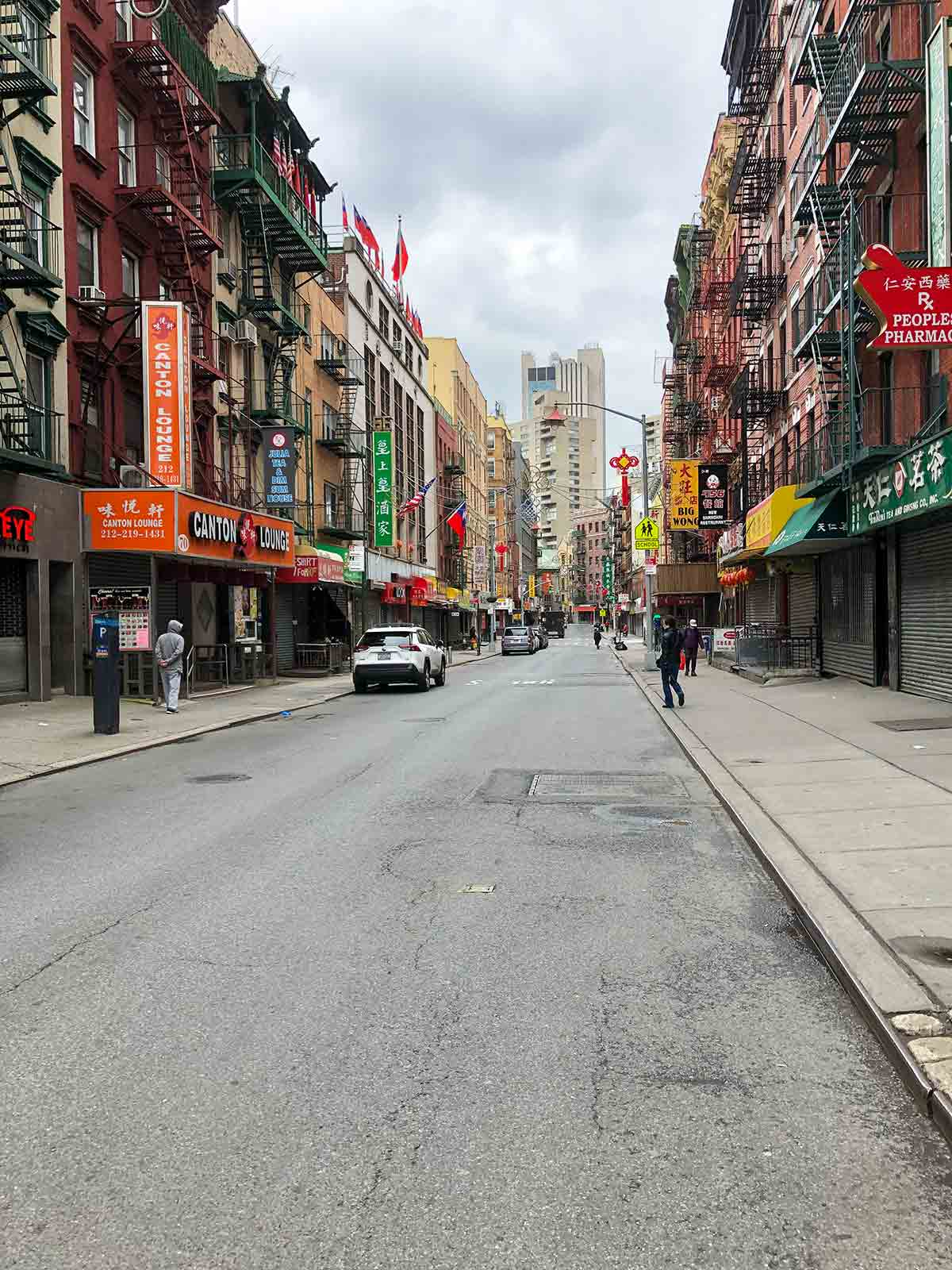 An empty street in Chinatown for the podcast Ep. 31: Grace Young: Coronavirus: Chinatown Stories