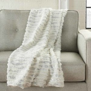 Faux Fur Throw Blanket on couch.