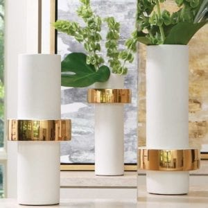 Photos of 3 Gold Ring Vase holding flowers.