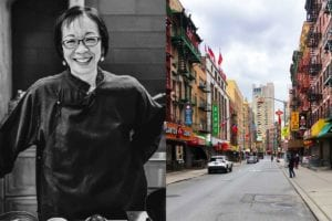 A photo of Grace Young and an image of a deserted street in Chinatown for the podcast Ep. 31: Grace Young: Coronavirus: Chinatown Stories.