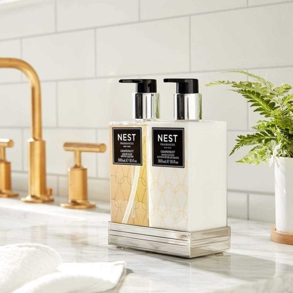 Grapefruit Liquid Soap and Hand Lotion by sink.