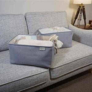 Gray Fabric Storage Bins on couch.