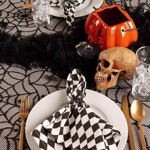 Halloween Lace Table Cloth with Check Napkins