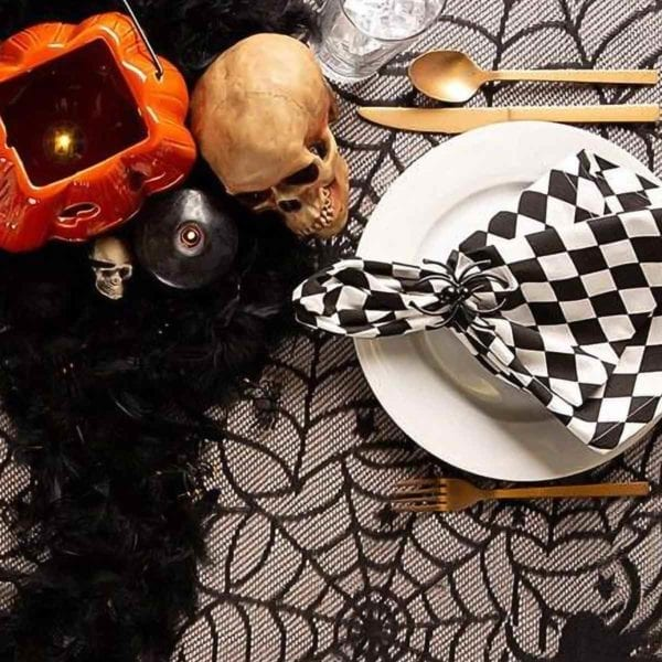 Halloween Lace Table Cloth with Flatware