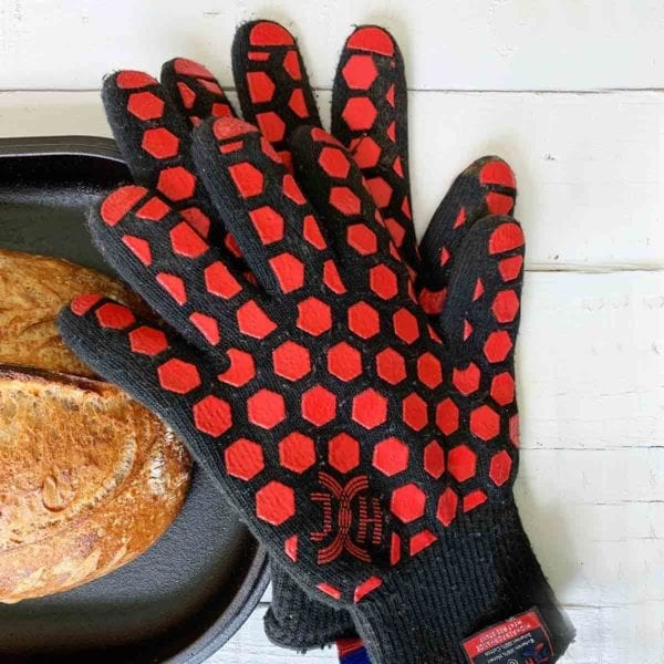 Heat Resistant Oven Gloves with a Loaf of Sourdough Bread and Challenger Pan