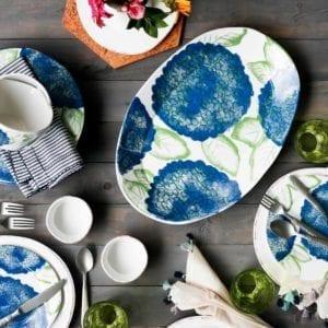 Hydrangea Dinner Plate set on table.