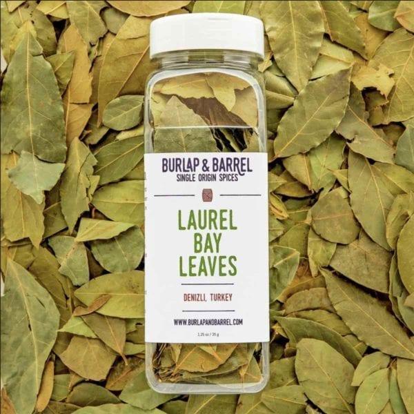 Laurel Bay Leaves in Jar.