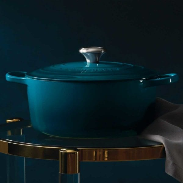 Photo of teal dutch oven from Le Creuset 5-Piece Signature Set.