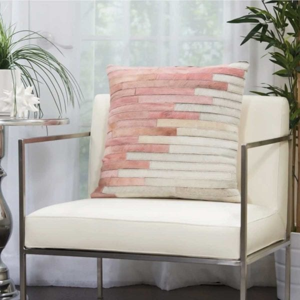 Natural Leather Hide Throw Pillow on white chair.