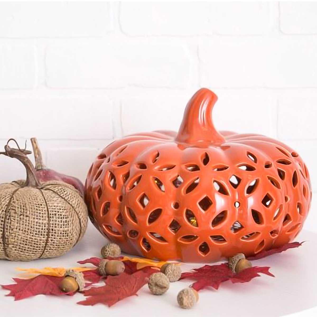 Orange Pumpkin Lantern with Nuts