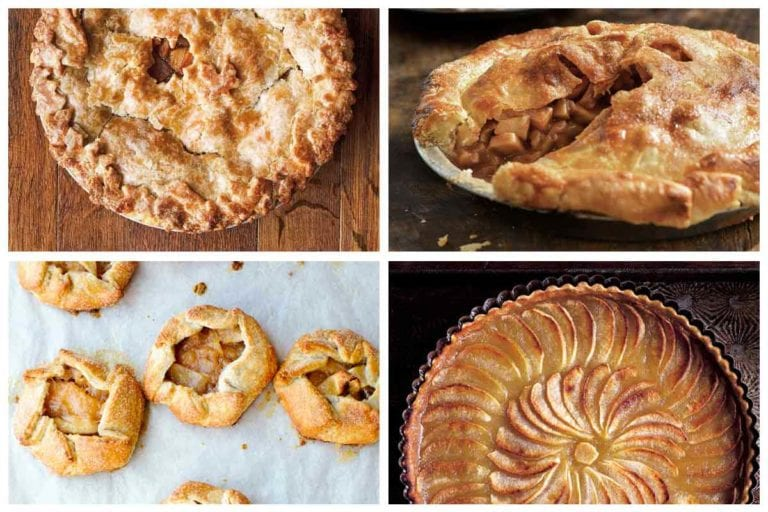 A grid of four apple pie recipes, including apple tart, two apple pies, and apple hand tarts.