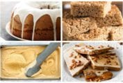 A grid of four of the 10 pumpkin spice recipes including a glazed pound cake, stacked rice krispie squares, pumpkin ice cream, and a pumpkin and white chocolate toffee.