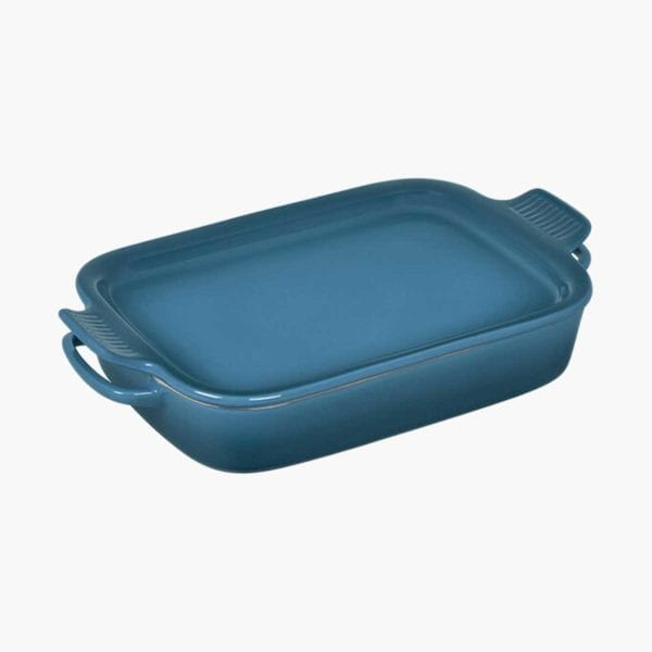 Blue Rectangular Dish with Platter