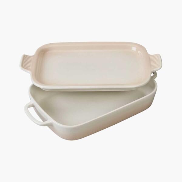 Cream Rectangular Dish with Platter