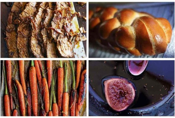 Four of the 24 Rosh Hashanah recipes featured in the slideshow including brisket, a loaf of challah, roasted carrots, and figs in wine.