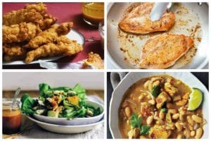 Four of the 23 quick chicken recipes including chicken tenders, pan-fried chicken, chicken salad, and white bean and chicken chili.
