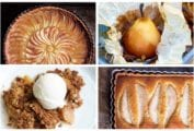 A grid of 4 of the 28 fall desserts recipes, including apple tart, pear parcels, crumble, and pear tart