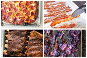 Four of the 32 sheet pan salvation recipes, including a baked pepperoni pizza, baked bacon, oven ribs, and charred cabbage.