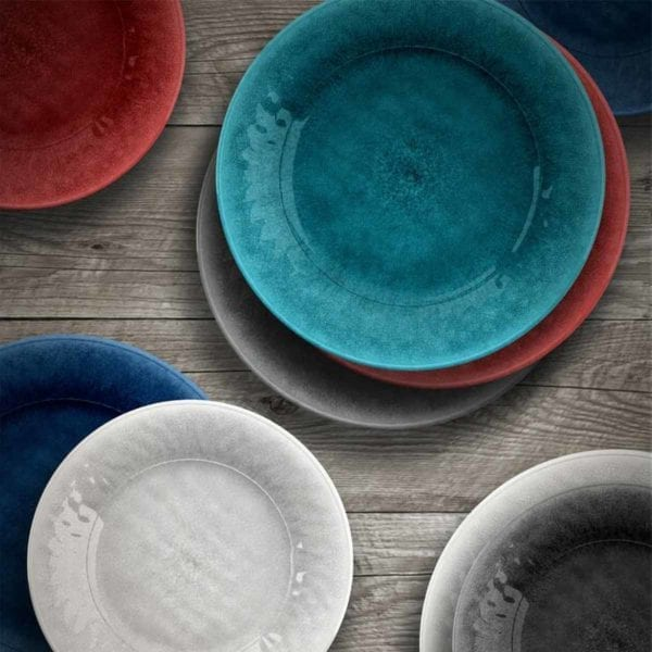Seth Glaze Salad Plate photo of various colors on wood table.