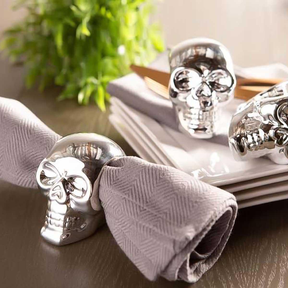 Skull Napkin and Napkin RIng Set