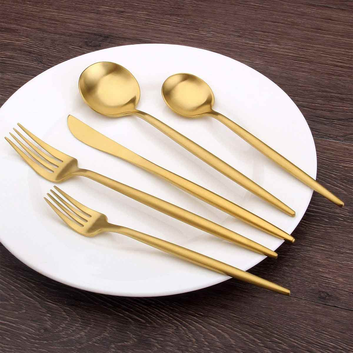 Stainless Steel Satin Finish Flatware Set on Plate