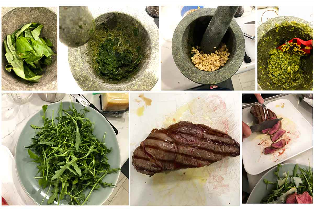 A grid of images representing the components of a steak and arugula salad with pesto vinaigrette.