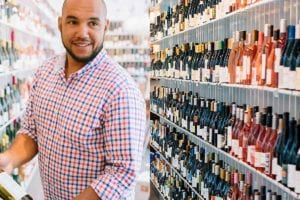 A split image of TJ Douglas, and a wall of wine at The Urban Grape.