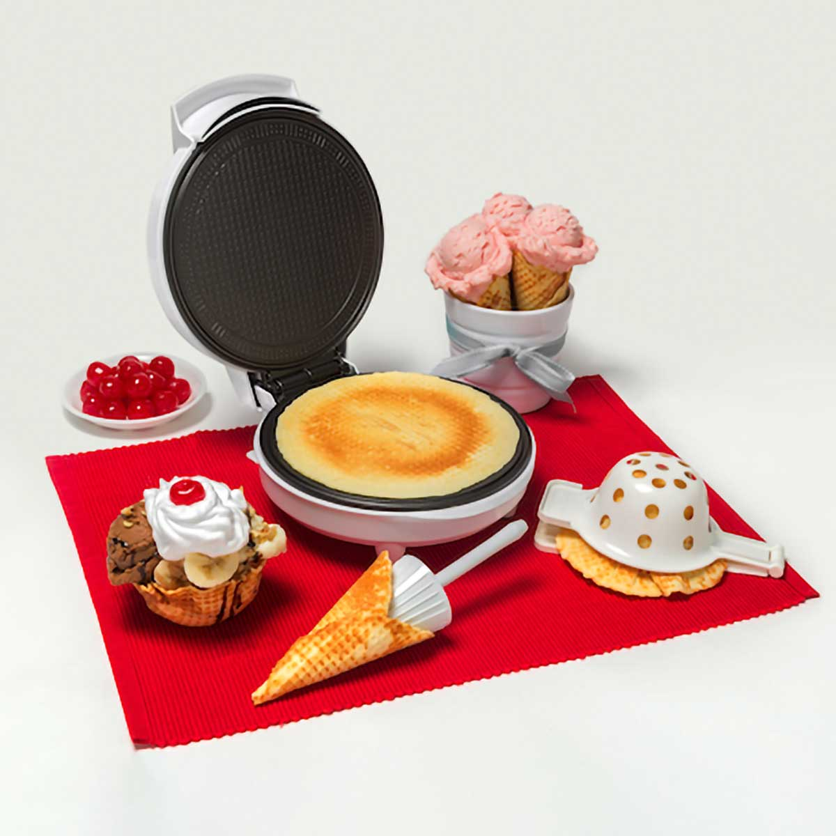 Waffle Cone and Bowl Maker with Red Placemat and Ice Cream