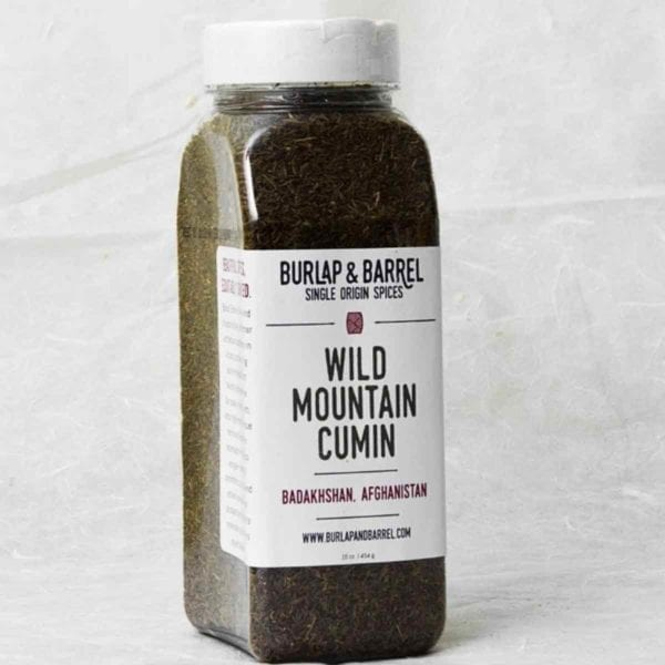 A large jar of wild mountain cumin seeds from Afghanistan.