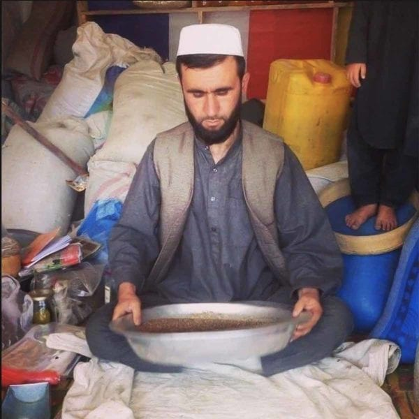 A person shaking a large metal bowl of wild mountain cumin.