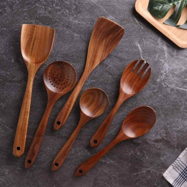 Wooden Cooking Utensil Set on Slate Countertop